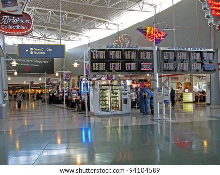 LAS VEGAS NV - APRIL 14: McCarran international airport interior on April 14, 2011 in Las Vegas, USA.  Airport was found in 1942 and now has more than 1234 slot machines inside the airport terminals. - stock photo