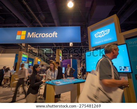 LAS VEGAS, NV - April 15: Microsoft at NAB Show 2015 exhibition in Las Vegas, NAB Show is an annual trade show produced by the National Association of Broadcasters. - stock photo