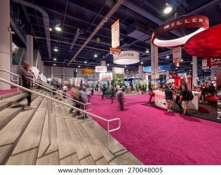 LAS VEGAS, NV - April 15: NAB Show 2015. It's an annual trade show by the National Association of Broadcasters.1726 exhibitors on 2,000,000 sq feet space of Las Vegas Convention Center, April 13-16. - stock photo