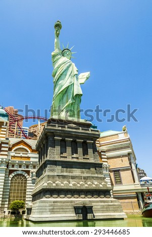LAS VEGAS NV - APRIL 16, 2012: New York - New York Hotel & Casino in Las Vegas, Nevada, USA. Replica of the Statue of Liberty is 150-foot-tall (46 m)