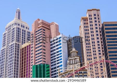 LAS VEGAS NV - APRIL 16, 2012: New York - New York Hotel & Casino in Las Vegas, Nevada, USA. The property's innovative facades re-create the classic Manhattan skyline. - stock photo