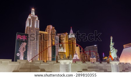 LAS VEGAS, NV -  APRIL 10, 2011: New York-New York Hotel on April 10, 2011 in Las Vegas, Nevada. Its owner - MGM Resorts reported strong net revenue gain of 43% to $2.23 billion in third quarter 2011