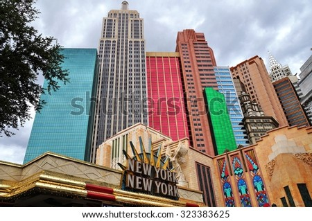 LAS VEGAS, NV -25 AUGUST 2013- Located on the Strip in downtown Las Vegas, United States, the New York New York Hotel and Casino includes replica of famous attractions in New York City. - stock photo