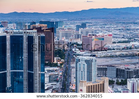 LAS VEGAS, NV - AUGUST 12: View of Las Vegas from Stratosphere Tower at dusk on August 12, 2015 in Las Vegas, USA. Las Vegas is one of the top tourist destinations in the world.