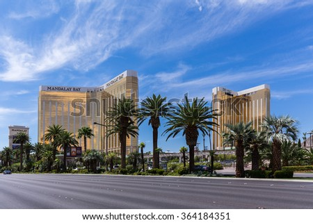 LAS VEGAS, NV - AUGUST 12: View of Mandalay Bay and Delano hotels and casinos on August 12, 2015 in Las Vegas, USA. Mandalay Bay and Delano are located on the famous Las Vegas Strip. - stock photo