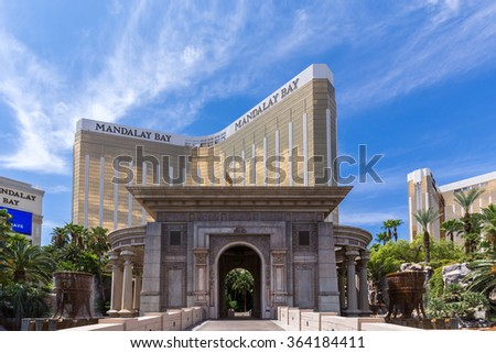 LAS VEGAS, NV - AUGUST 12: View of Mandalay Bay Resort and Casino hotel on August 12, 2015 in Las Vegas, USA. The Mandalay Bay is located on the famous Las Vegas Strip. - stock photo