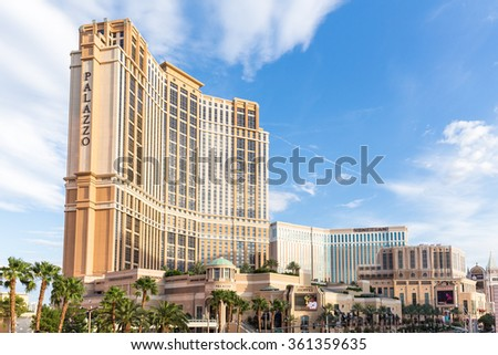 LAS VEGAS, NV - AUGUST 11: View of The Palazzo hotel and casino resort on August 11, 2015 in Las Vegas, USA. The Palazzo is located on the Las Vegas Strip and is the tallest building in Nevada. - stock photo