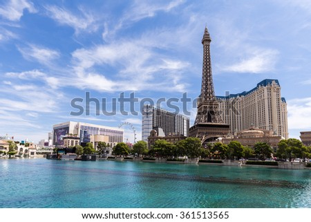 LAS VEGAS, NV - AUGUST 12: View of the Paris Las Vegas hotel and casino on August 12, 2015 in Las Vegas, USA. Located on the Las Vegas Strip, its theme is the city of Paris, France. - stock photo