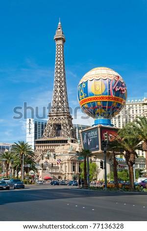 LAS VEGAS, NV - CIRCA APRIL 2011: Paris Las Vegas hotel and casino circa April, 2011 in Las Vegas, Nevada, USA. This hotel features a replica of the Eiffel Tower - stock photo