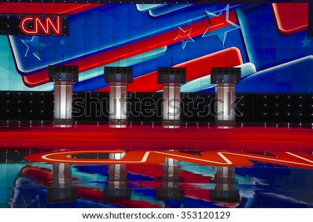 LAS VEGAS, NV, Dec 15, 2015, Empty Podiums at the CNN Republican presidential debate at The Venetian Resort and Casino, Las Vegas, NV - stock photo