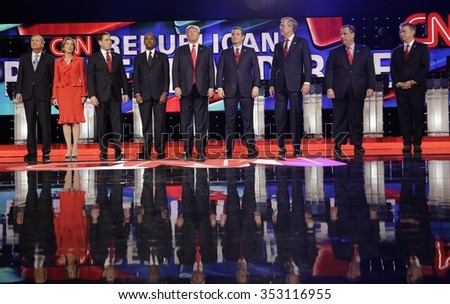 LAS VEGAS, NV - DEC, 15, 2015: Republican presidential candidates (L-R) John Kasich, Carly Fiorina, Sen. Marco Rubio, Ben Carson, Donald Trump, Sen. Ted Cruz, Jeb Bush, Chris Christie and Sen. Rand Paul - stock photo