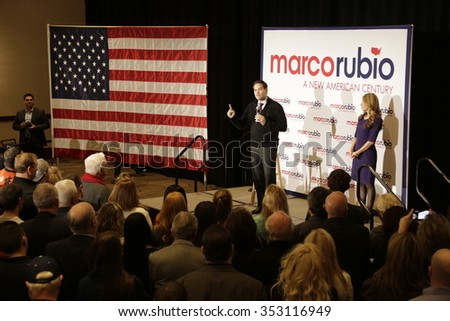 LAS VEGAS, NV - DECEMBER 14: Republican Presidential candidate Senator Marco Rubio speaks during a campaign rally at the Renaissance Las Vegas on December 14, 2015 in Las Vegas, Nevada.