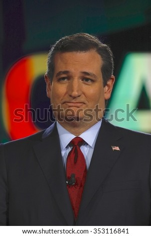 LAS VEGAS, NV - DECEMBER 15: Republican presidential candidate US Senator Ted Cruz smirks at CNN republican presidential debate at The Venetian, December 15, 2015, Las Vegas, Nevada - stock photo