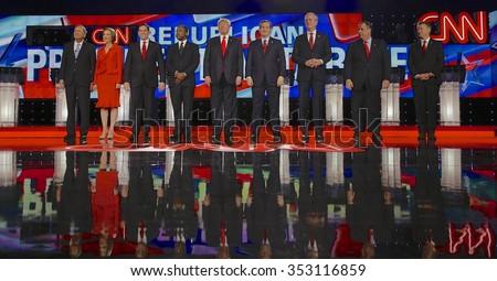 LAS VEGAS, NV - DECEMBER 15: Republican presidential candidates (L-R) John Kasich, Carly Fiorina, Sen. Marco Rubio, Ben Carson, Donald Trump, Sen. Ted Cruz, Jeb Bush, Chris Christie and Sen. Rand Paul - stock photo