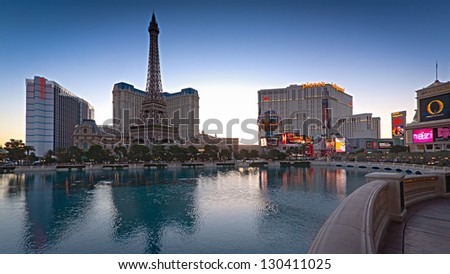 LAS VEGAS, NV - FEBRUARY 17, 2013:  Calm at twilight on the Las Vegas Strip just days before a shooting killed three at this location - Las Vegas, NV - February 17, 2013. - stock photo