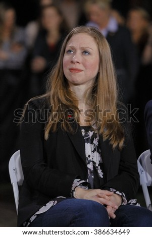 LAS VEGAS, NV - FEBRUARY 19: Chelsea Clinton watches former Secretary of State Hillary Clinton during a campaign rally at the Clark County Government Center Amphitheater in Las Vegas, Nevada - stock photo