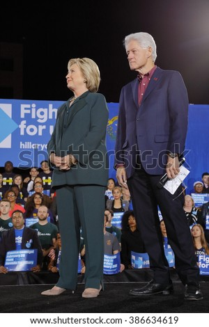 LAS VEGAS, NV - FEBRUARY 19:  Democratic presidential candidate former Secretary of State Hillary Clinton and President Bill Clinton February 19, 2016 in Las Vegas, NV. - stock photo