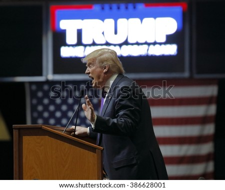 LAS VEGAS, NV - FEBRUARY 22: Republican 2016 presidential candidate Donald Trump speaks at a rally at the South Point Hotel & Casino on February 22, 2016 - stock photo