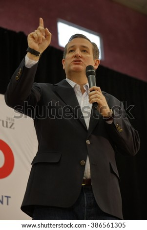 LAS VEGAS, NV - FEBRUARY 22: Republican presidential candidate Texas Senator Ted Cruz  speaks at a rally at the Durango Hills Community Center on February 22, 2016 in Las Vegas