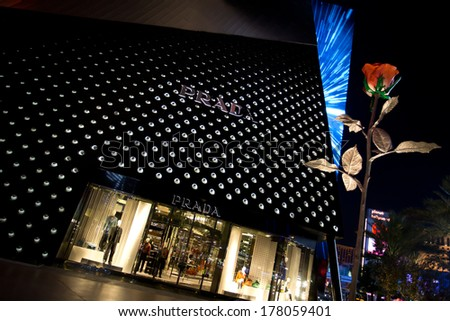 LAS VEGAS, NV - FEBRUARY 16, 2014: The Prada Boutique exemplifies the high-end retail options at Crystals Shopping Center at the City Center on the Las Vegas Strip in Las Vegas, NV; February 16, 2014. - stock photo