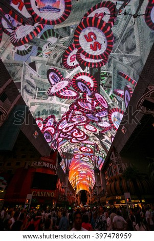 LAS VEGAS, NV - JUL 17, 2005: Vintage Fremont Street in Las Vegas, Nevada. The street is the second most famous street in the Las Vegas. Fremont Street dates back to 1905, when Las Vegas was founded. - stock photo