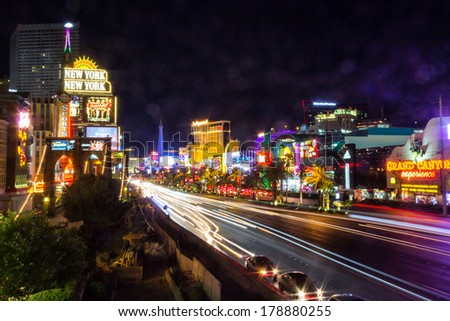 LAS VEGAS, NV- JULY 13, 2013: Moving cars in Las Vegas