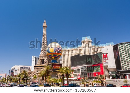 LAS VEGAS, NV - JULY 02, 2011: Paris Las Vegas hotel and casino on July 2, 2011 in Las Vegas, Nevada, USA. The hotel's theme is city of Paris in France.