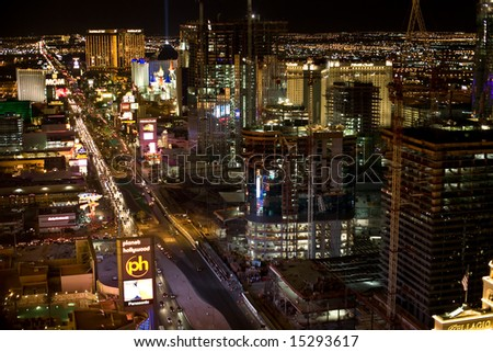 LAS VEGAS, NV - JULY 19: The Las Vegas Strip as seen from the Paris casino Eiffel tower July 19, 2008 in Las Vegas, NV. The building boom in Las Vegas shows no signs of slowdown. - stock photo