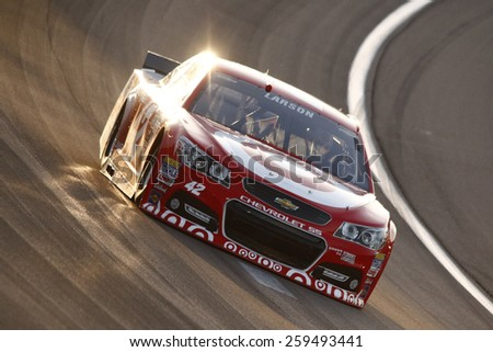Las Vegas, NV - Mar 06, 2015:  Kyle Larson (42) qualifies for the Kobalt 400 at Las Vegas Motor Speedway in Las Vegas, NV.