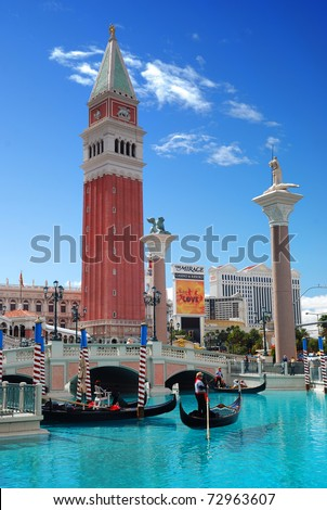 LAS VEGAS, NV - MAR 4:  Venetian  Hotel Casino is famous with Venice replica scene and European style architecture and is filmed in several US movies. March 4, 2010 in Las Vegas, Nevada. - stock photo