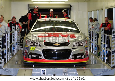 LAS VEGAS, NV - March 06: Inspection for Jeff Gordon's car at the NASCAR Sprint Kobalt 400 race at Las Vegas Motor Speedway in Las Vegas, NV on March 06, 2015 - stock photo