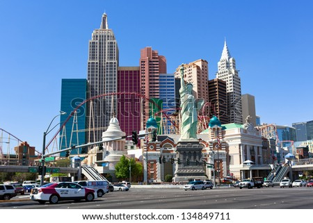 LAS VEGAS NV - MARCH 19: New York - New York Hotel & Casino on March 19, 2013 in Las Vegas, Nevada, USA. New York New York with replica of the Statue of Liberty is located on the Las Vegas Strip.