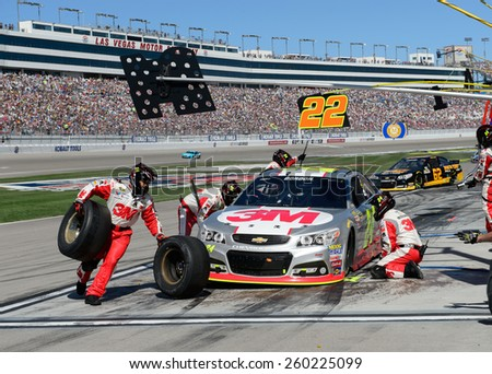 LAS VEGAS, NV - March 08: Pitstop for Jeff Gordon at the NASCAR Sprint Kobalt 400 race at Las Vegas Motor Speedway on March 08, 2015 - stock photo