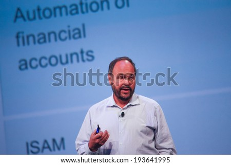LAS VEGAS, NV -?? MAY 6, 2014: CEO Pivotal Paul Maritz makes speech at EMC World 2014 conference on May 6, 2014 in Las Vegas, NV  - stock photo
