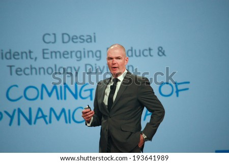 LAS VEGAS, NV -?? MAY 5, 2014: EMC Chief Marketing Officer Jonathan Martin makes speech at EMC World 2014 conference on May 5, 2014 in Las Vegas, NV  - stock photo