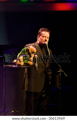 LAS VEGAS, NV - MAY 13, 2009 : Impersonator/Ventriloquist Terry Fator with his puppet Winston at his performance in the Terry Fator Theater at the MGM/Mirage May 13, 2009 in Las Vegas.