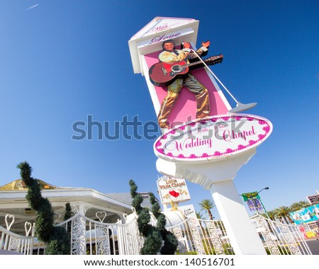 """LAS VEGAS, NV - MAY 12:  Landmark Little White Wedding Chapel in Las Vegas NV seen on May 12, 2012.  Established in 1951 it has been the site of many """"quickie"""" celebrity weddings - stock photo"""