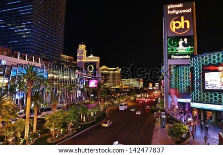 LAS VEGAS, NV- MAY 17: Las Vegas Streets and Architecture at Night in Nevada, USA on May 17,2013.Las Vegas Boulevard is a major road, best known for the Vegas Strip portion of the road and its casinos