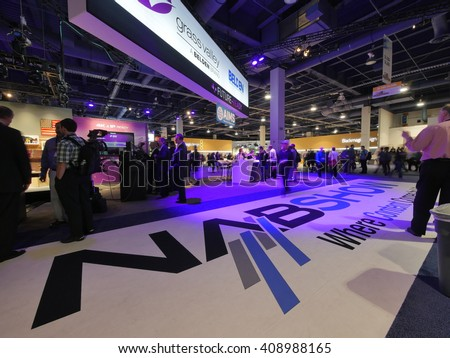 LAS VEGAS, NV - NAB 2016, an annual trade show by the National Association of Broadcasters.1700+ exhibitors on 2000000 sq feet space of Las Vegas Convention Center. - stock photo