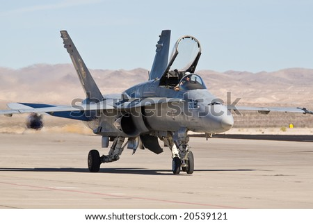 LAS VEGAS, NV - NOV 7:  US Marines F/A-18 Hornet strike fighter performs at Aviation Nation 2008 Airshow, November 7, 2008 at Nellis AFB, Las Vegas, NV