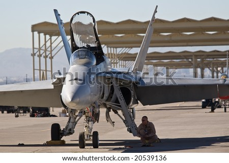 LAS VEGAS, NV - NOV 7:  US Marines F/A-18 Hornet strike fighter  prepares to perform at Aviation Nation 2008 Airshow, November 7, 2008 at Nellis AFB, Las Vegas, NV