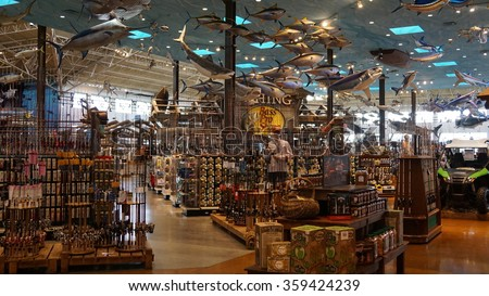 LAS VEGAS, NV - OCT 25: Bass Pro Shop at Silverton Hotel and Casino in Las Vegas, as seen on Oct 25, 2015. A $150-million renovation in 2004 included opening of a 145,000-square-foot Bass Pro Shop. - stock photo