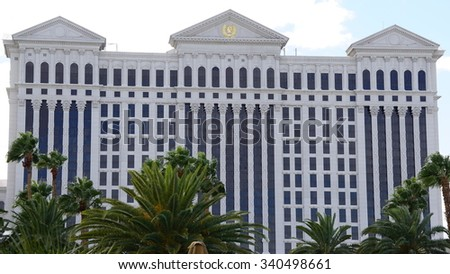 LAS VEGAS, NV - OCT 29: Caesars Palace Hotel and Casino in Las Vegas, as seen on Oct 29, 2015. Caesars Palace opened in the 1960's and has a Roman Empire theme. - stock photo