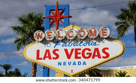 LAS VEGAS, NV - OCT 29: Welcome to Fabulous Las Vegas sign, on Oct 29, 2015. The sign was designed by Betty Willis at the request of Ted Rogich, a local salesman, who sold it to Clark County, Nevada. - stock photo