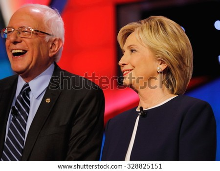 LAS VEGAS, NV - OCTOBER 13 2015: CNN Democratic presidential debate features candidates Sen. Bernie Sanders, Hillary Clinton at Wynn Las Vegas. - stock photo