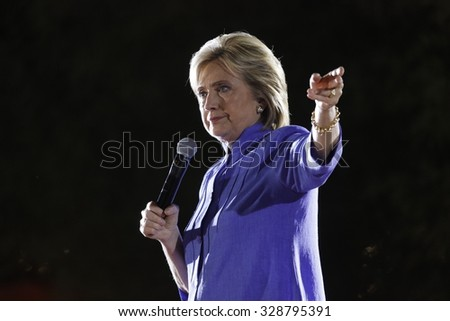 LAS VEGAS, NV - OCTOBER 14, 2015: Hillary Clinton, former U.S. secretary of state and 2016 Democratic presidential candidate, speaks at Hillary for America Nevada Rally, Springs Preserve Amphitheater