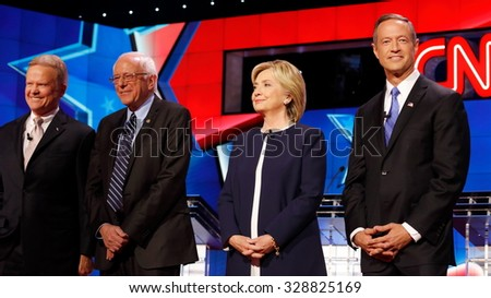 LAS VEGAS, NV - OCTOBER 13 2015: (L-R) Democratic presidential debate features candidates Jim Webb, Sen. Bernie Sanders, Hillary Clinton and Martin O'Malley at Wynn Las Vegas. - stock photo