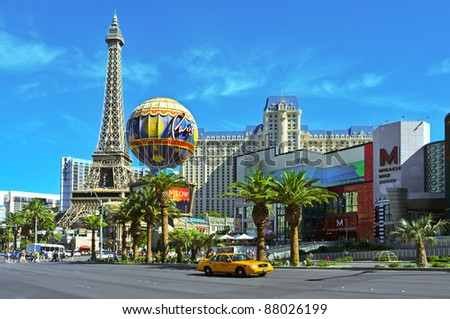 LAS VEGAS, NV - OCTOBER 13: Paris Las Vegas Hotel on October 13, 2011 in Vegas, NV. The resort has an hotel with 2,915 rooms and a half scale, 541-foot (165 meters) tall, replica of the Eiffel Tower - stock photo