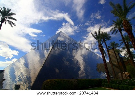 LAS VEGAS, NV - SEP 1: The reflection from the Pyramid in Vegas September 1, 2007 in Las Vegas, NV - stock photo