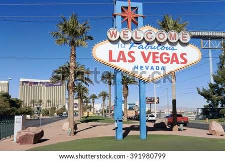 LAS VEGAS, NV, USA-JAN 16: Las Vegas Famous Signboard, January 16, 2014 - stock photo